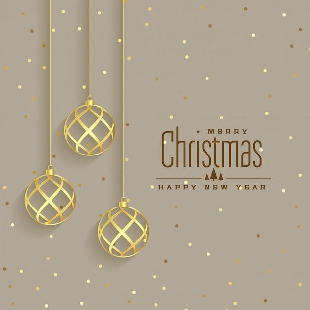 Elegante gouden de premieachtergrond van kerstmisballen Gratis Vector