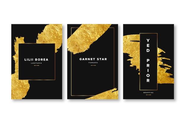 Elegante gouden folie dekt sjabloon Gratis Vector