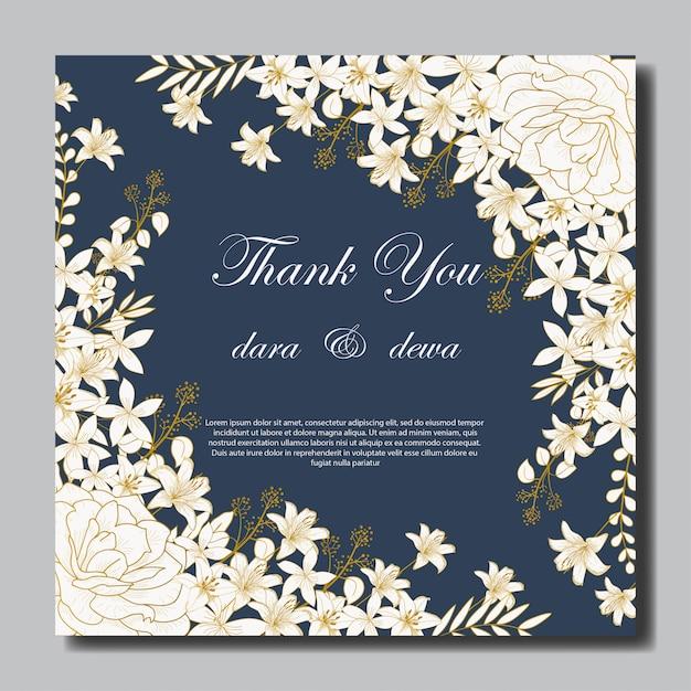 Elegante hand getrokken bloemenhuwelijksuitnodiging Premium Vector