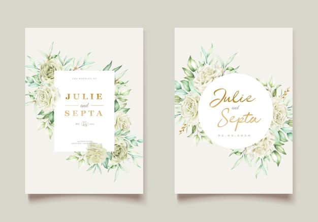 Elegante hand tekenen bruiloft uitnodiging bloemdessin Gratis Vector