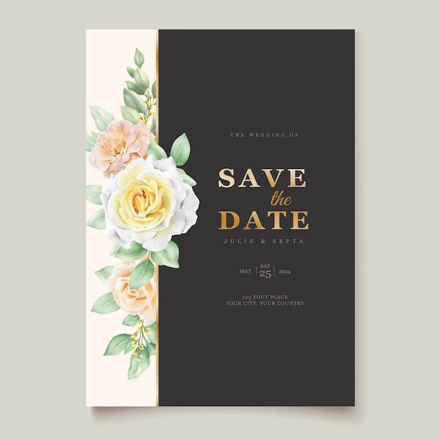Elegante hand tekenen bruiloft uitnodiging bloemen Gratis Vector