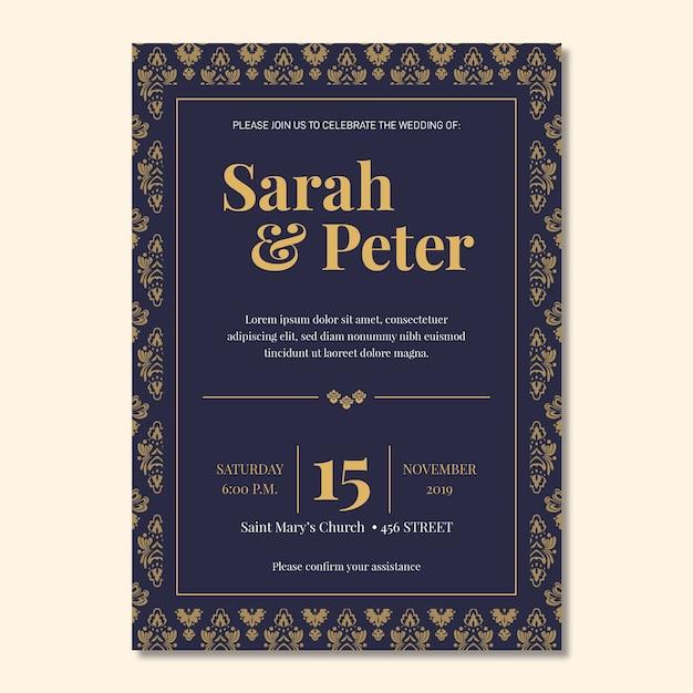 Elegante het huwelijksuitnodiging van de damastsjabloon Gratis Vector