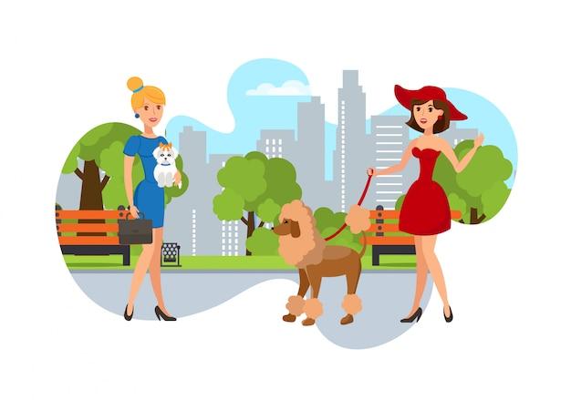 Elegante huisdierbezitters lopen hun honden in het park Premium Vector