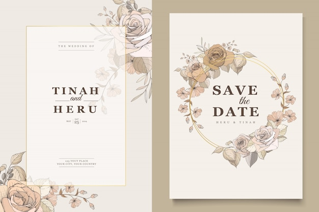 Elegante huwelijkskaart met mooie bloemen en bladerensjabloon Gratis Vector