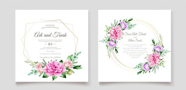 Elegante huwelijksuitnodiging designg met mooie bloemen Gratis Vector