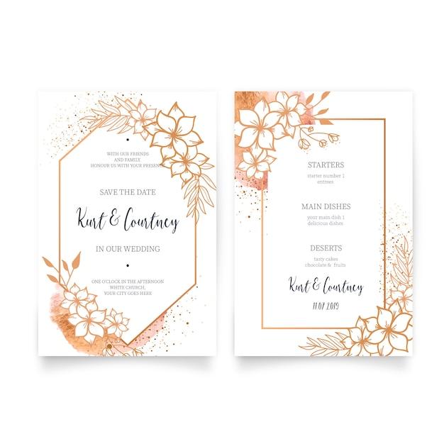 Elegante huwelijksuitnodiging & menu met gouden ornamenten Gratis Vector