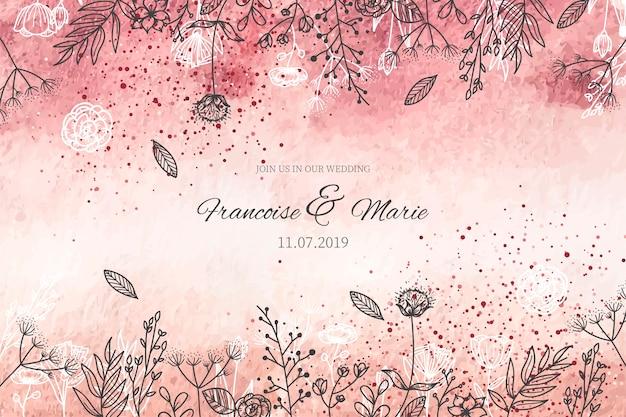 Elegante huwelijksuitnodiging met gouden achtergrond Gratis Vector