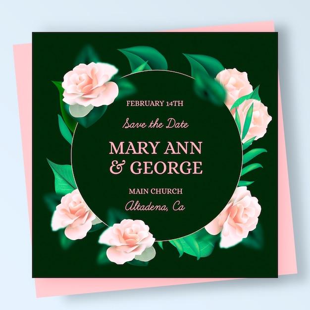 Elegante huwelijksuitnodiging met realistische rozen Gratis Vector