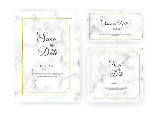 Elegante huwelijksuitnodigingen met gouden geometrische kaders en grijze marmeren textuur. luxe uitnodigingscollectie met sparen de datum, rsvp, menu, tafelnummer en naamkaartje Premium Vector