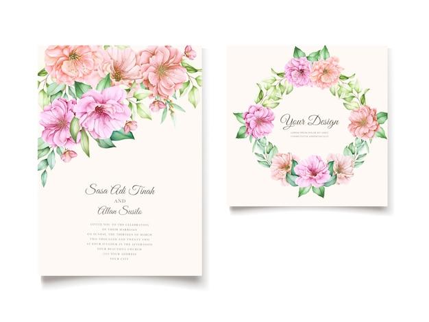 Elegante kersenbloesem uitnodiging kaartsjabloon Gratis Vector