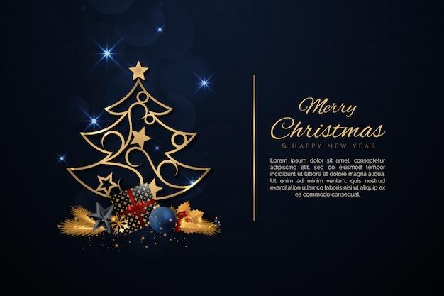 Elegante kerstboom met gouden kerst elementen Premium Vector