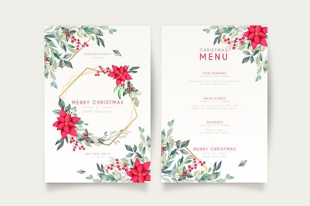 Elegante kerstkaart en menusjabloon Gratis Vector