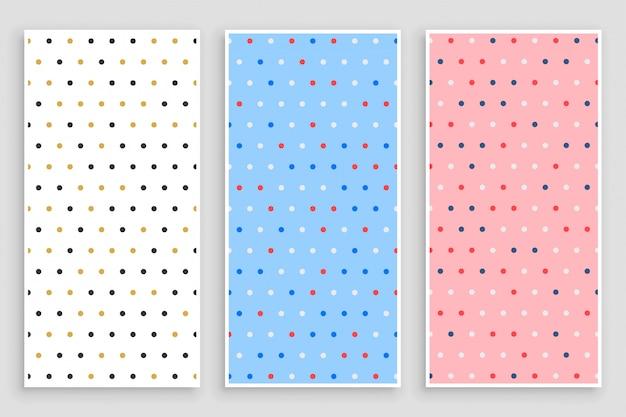 Elegante kleine cirkel polka patroon banners set Gratis Vector