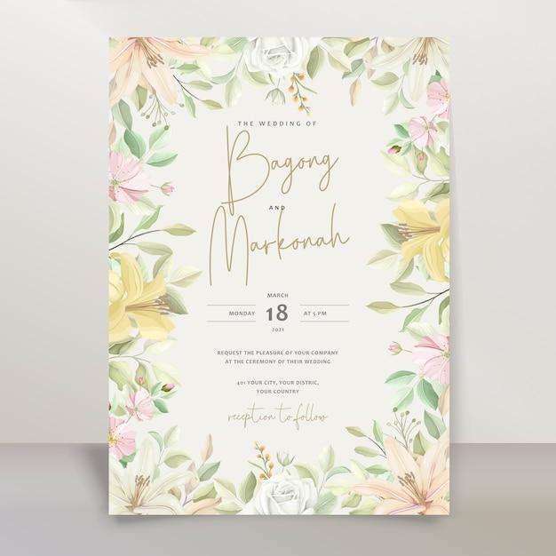 Elegante lelie bruiloft uitnodiging kaartenset Gratis Vector