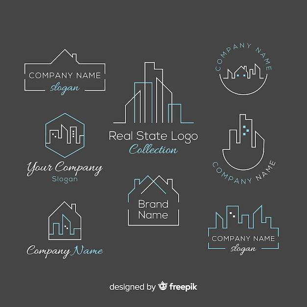 Elegante logo-collectie voor onroerend goed Gratis Vector