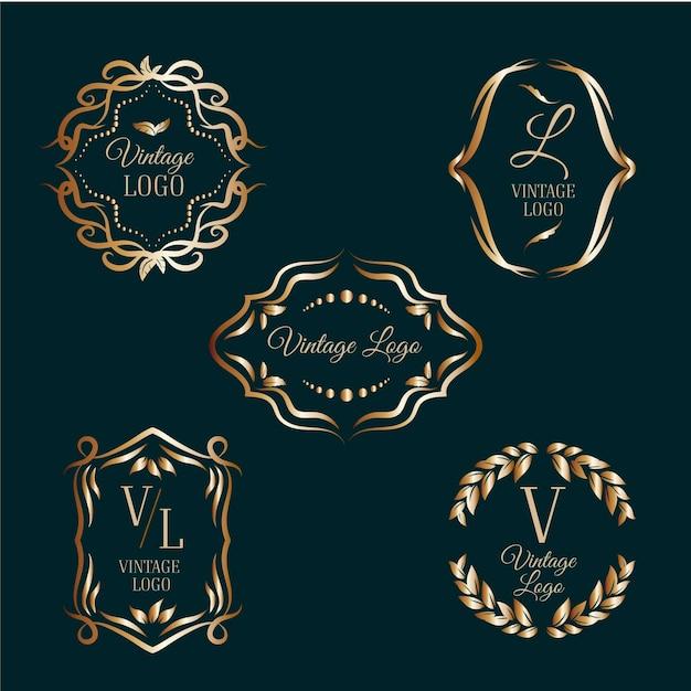 Elegante logo's met gouden kaders Gratis Vector