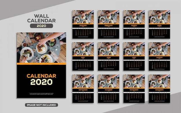 Elegante luxe wandkalender 2020-sjabloon Premium Vector