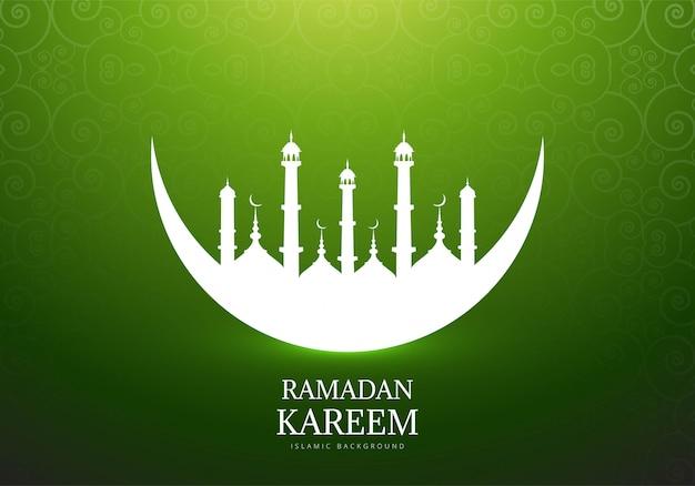 Elegante maan met moskee ramadan kareem achtergrond Gratis Vector