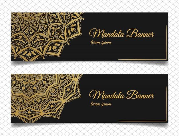 Elegante mandala-banners Premium Vector
