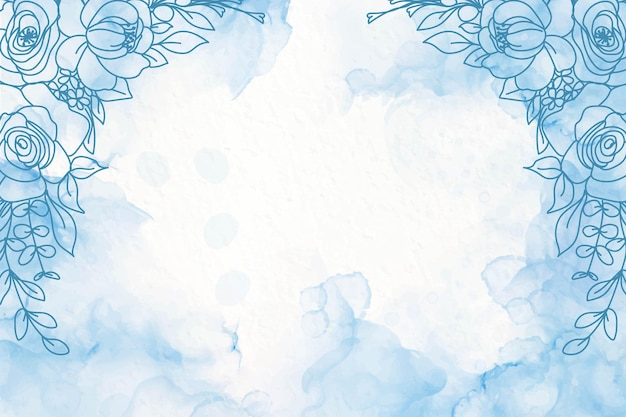 Elegante marineblauwe alcoholinktachtergrond met bloemen Gratis Vector