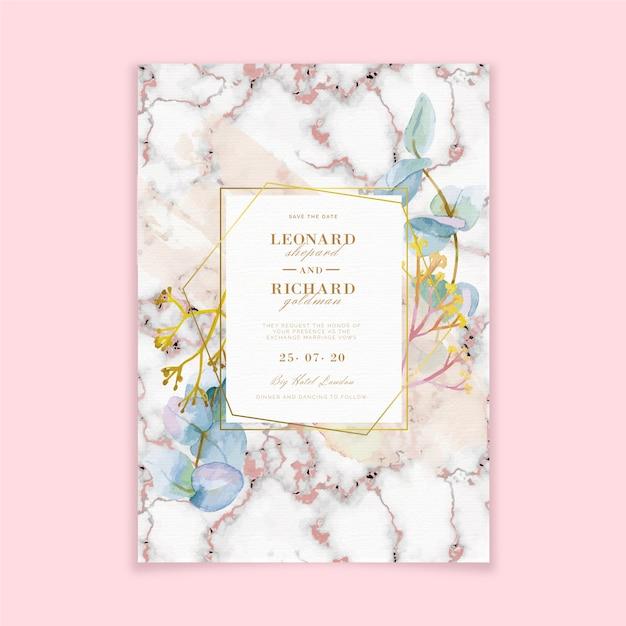 Elegante marmeren bruiloft uitnodiging sjabloon Gratis Vector
