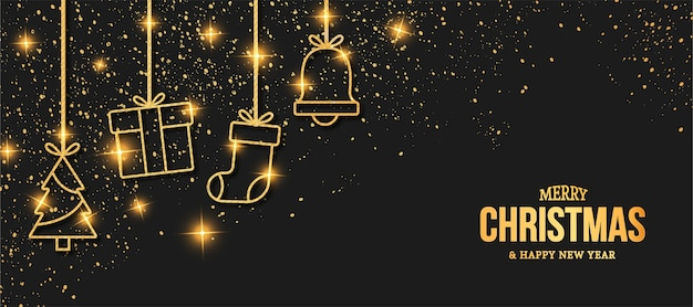 Elegante merry christmas card met gouden kerst iconen Gratis Vector