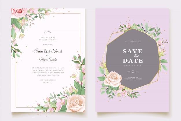 Elegante minimalistische bloemen bruiloft uitnodiging sjabloon Gratis Vector