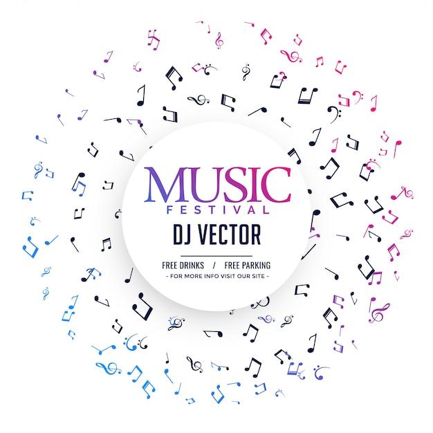 Elegante muziekaffiche met notities Gratis Vector