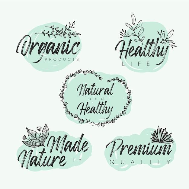 Elegante natuur cosmetica-logo's instellen Gratis Vector