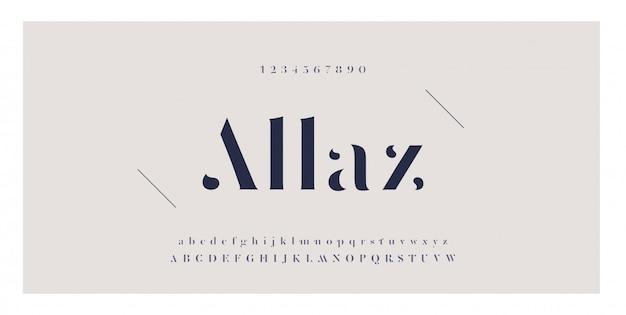 Elegante ontzagwekkende alfabetbrieven lettertype en nummer Premium Vector