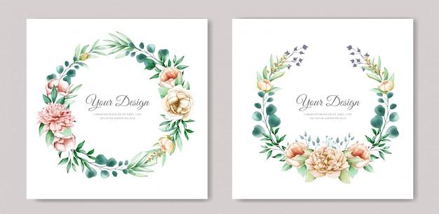 Elegante pioenrozen uitnodigingskaartsjabloon Gratis Vector