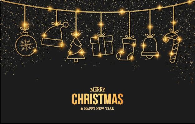 Elegante prettige kerstdagen en nieuwjaarskaart met gouden kerst objecten pictogrammen Gratis Vector