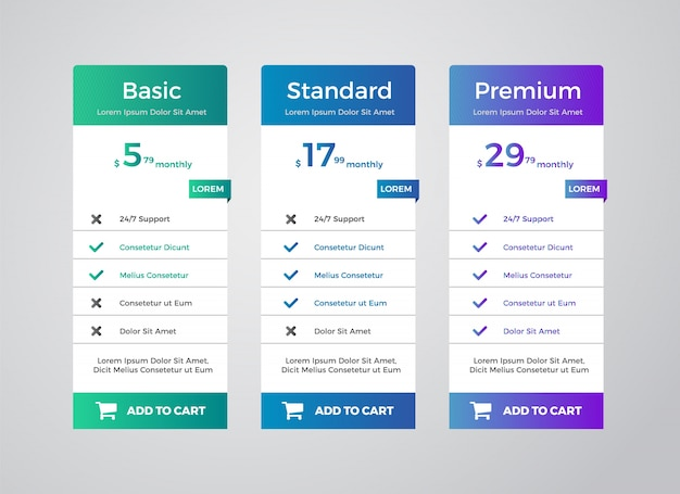Elegante pricing tabelplannen clean template Premium Vector