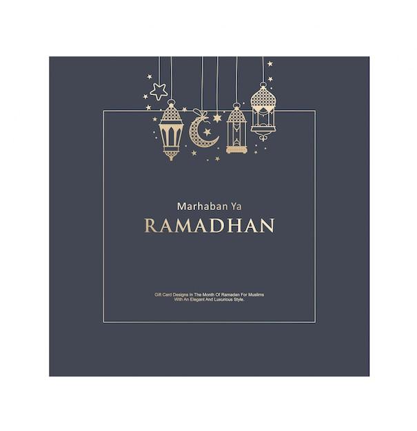 Elegante ramadhan cadeaukaart Premium Vector