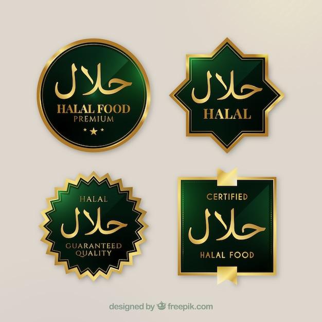 Elegante reeks halal voedseletiketten met gouden stijl Gratis Vector