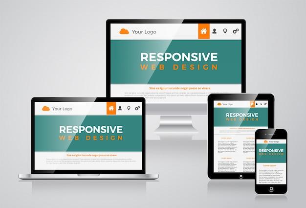 Elegante responsieve website illustratie vectorial design Premium Vector