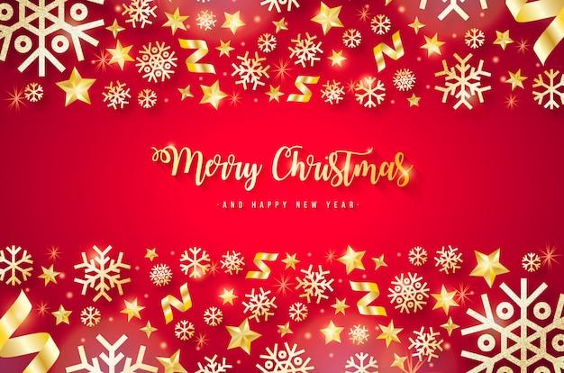 Elegante rode kerst achtergrond met gouden elementen Gratis Vector