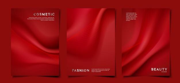 Elegante rode stoffen omslagsjabloon set Premium Vector