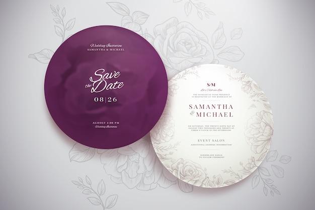 Elegante ronde bruiloft uitnodiging sjabloon set Gratis Vector