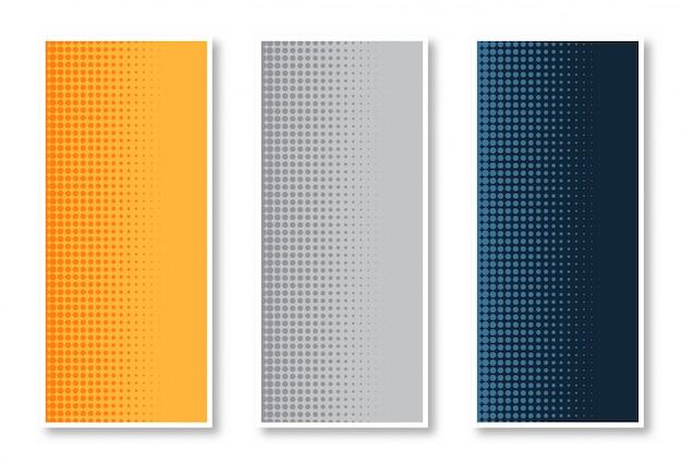 Elegante set van halftone verticale bannerachtergrond Gratis Vector