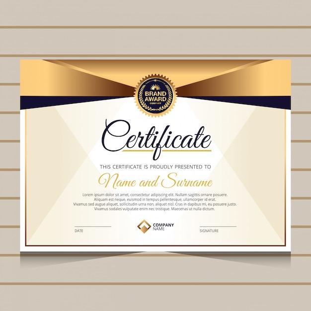 Elegante stijl voor certificaatsjabloon Premium Vector