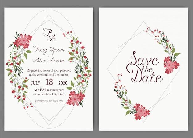 Elegante trouwkaarten bestaan uit verschillende soorten bloemen. Premium Vector