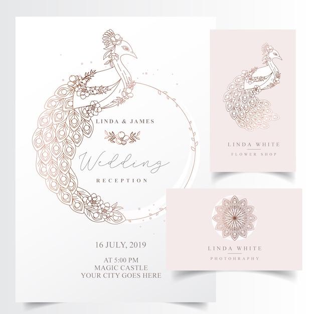 Elegante uitnodigingskaart met een pauw Premium Vector
