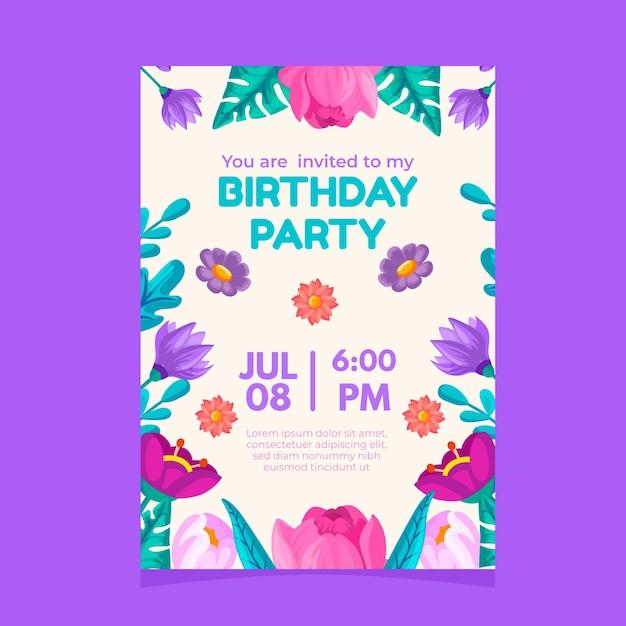 Elegante verjaardagsfeestje uitnodiging met bloemen Gratis Vector