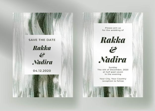 Elegante verloving bruiloft uitnodiging sjabloon met abstract schilderij groen Gratis Vector