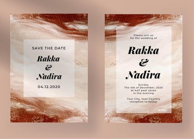 Elegante verloving bruiloft uitnodiging sjabloon met abstracte schilderkunst Gratis Vector