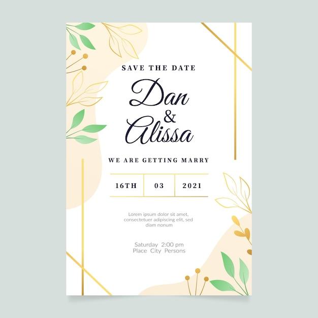 Elegante verloving uitnodigingssjabloon met bladeren Gratis Vector