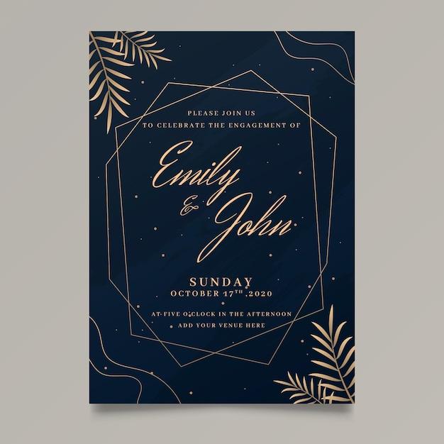 Elegante verloving uitnodigingssjabloon Gratis Vector