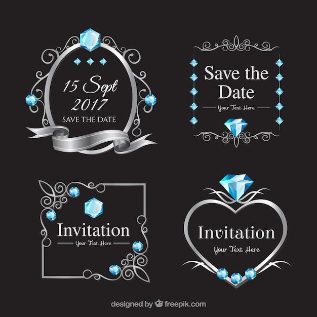 Elegante verscheidenheid aan trouwlabels met diamanten Gratis Vector