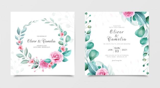 Elegante vierkante bruiloft uitnodiging kaartsjabloon ingesteld met aquarel bloemen krans en rand Premium Vector